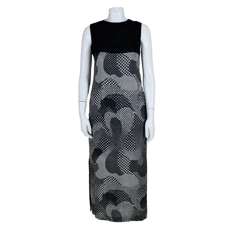 Pierre Cardin 1960s Psychedelic Print Silk Gown 1