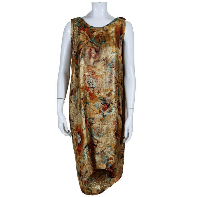 1920's Draped Gold Lamé Dress 1