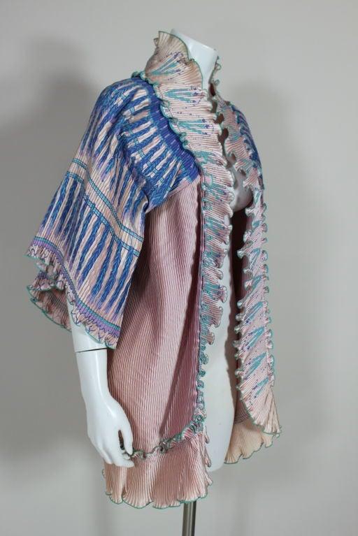 Zandra Rhodes 1970s Silkscreened Fan Pleated Jacket 5