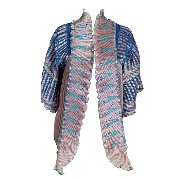 Zandra Rhodes 1970s Silkscreened Fan Pleated Jacket 1