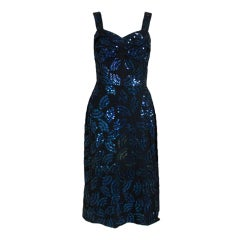 Adrian Midnight Blue Sequined Dress with Jacket
