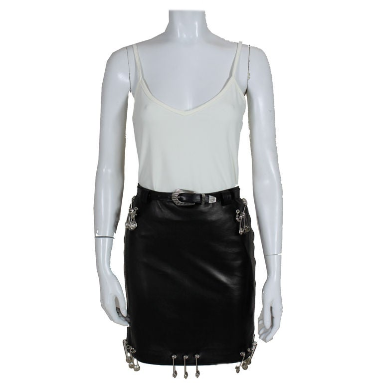 iconic versace leather skirt with safety pins at 1stdibs