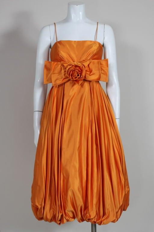 1950's Orange Silk Bubble Hem Dress 2