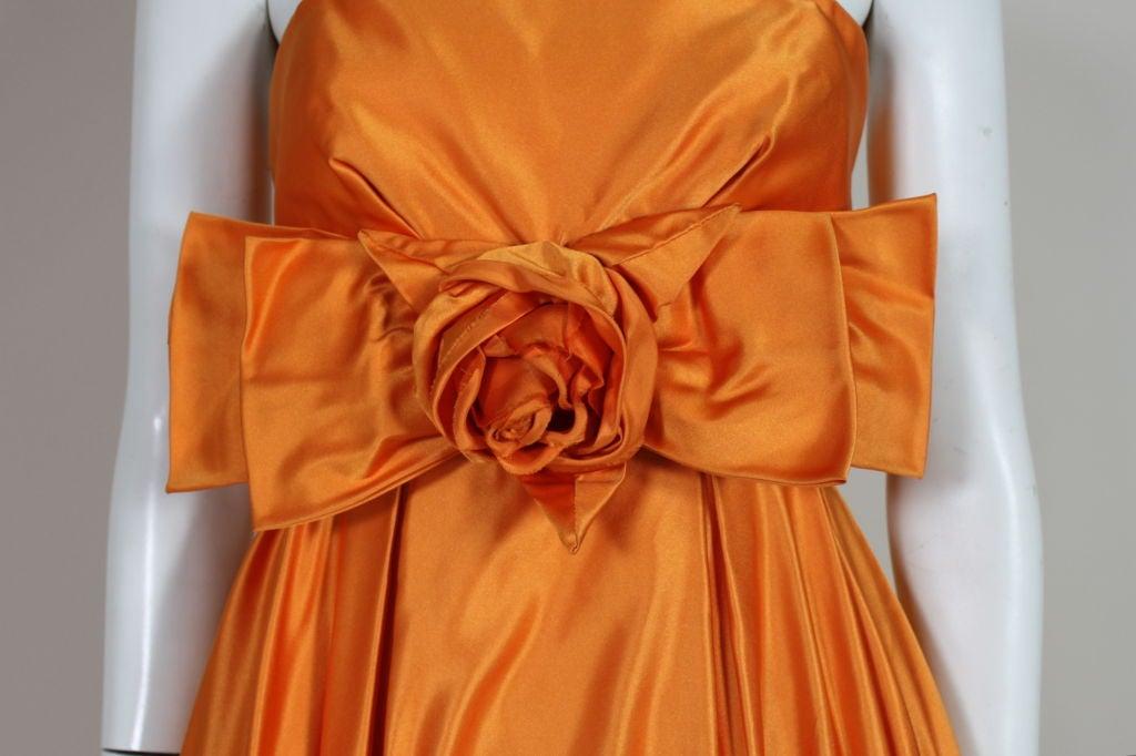 1950's Orange Silk Bubble Hem Dress 3