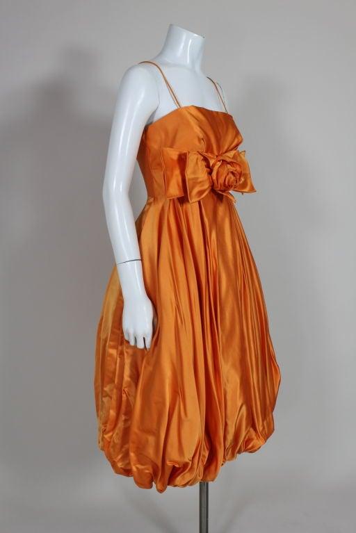 1950's Orange Silk Bubble Hem Dress 4