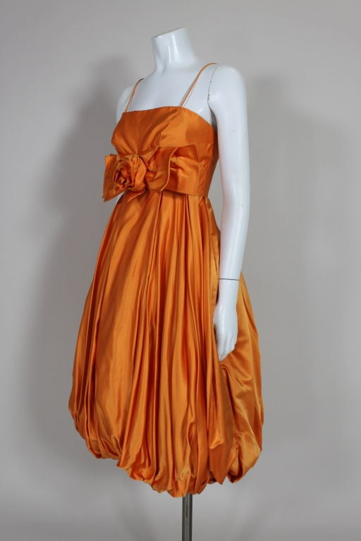 1950's Orange Silk Bubble Hem Dress 5