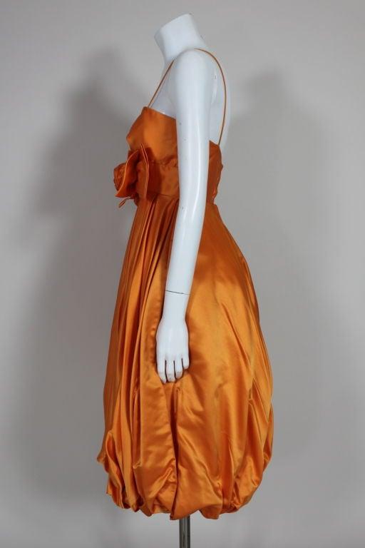 1950's Orange Silk Bubble Hem Dress 6