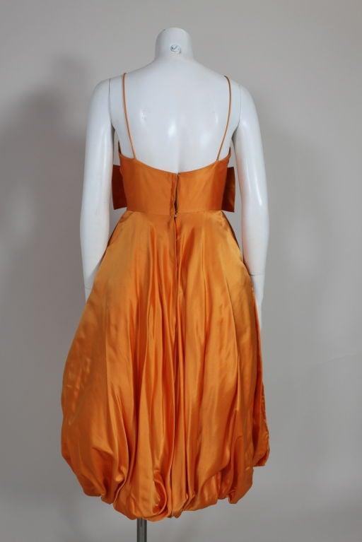 1950's Orange Silk Bubble Hem Dress 7