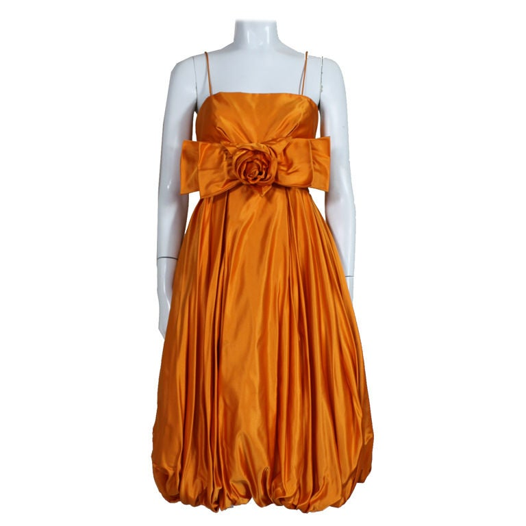 1950's Orange Silk Bubble Hem Dress 1