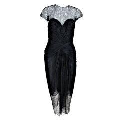Oscar de la Renta Chiffon and Chantilly Lace Dress, 1980s