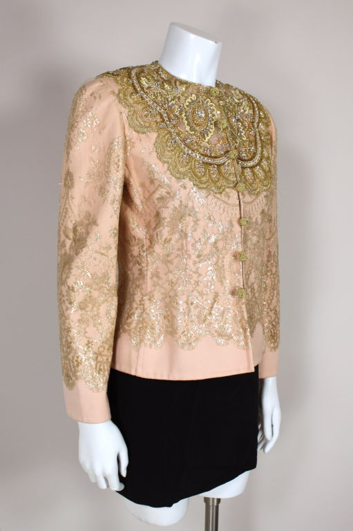 Bill Blass Metallic Lace Beaded Evening Jacket At 1stdibs