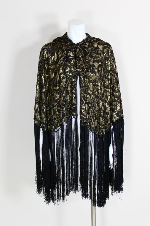 1920's Gold Lamé Hooded Cape with Fringe 2