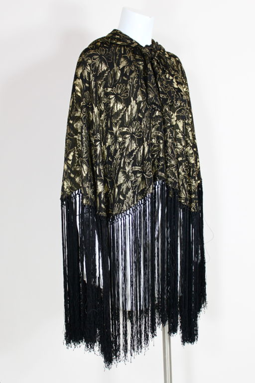 1920's Gold Lamé Hooded Cape with Fringe 3