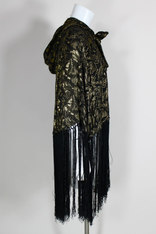 1920's Gold Lamé Hooded Cape with Fringe 4