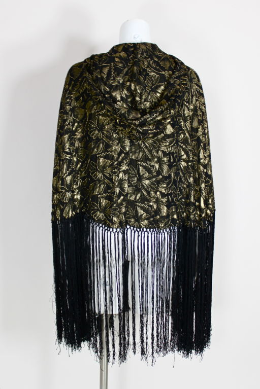 1920's Gold Lamé Hooded Cape with Fringe 5