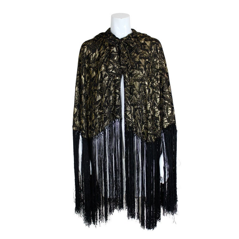 1920's Gold Lamé Hooded Cape with Fringe 1