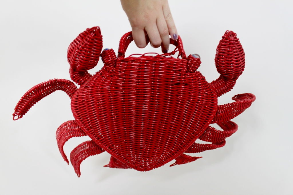 1950s Whimsical Straw Crab Purse 10
