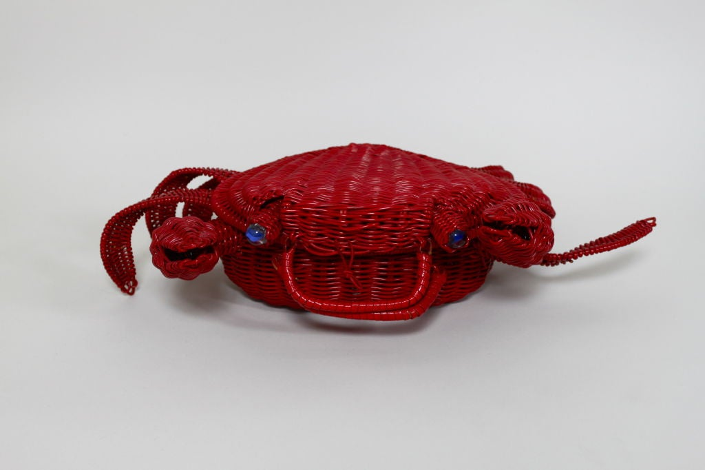 1950s Whimsical Straw Crab Purse 2