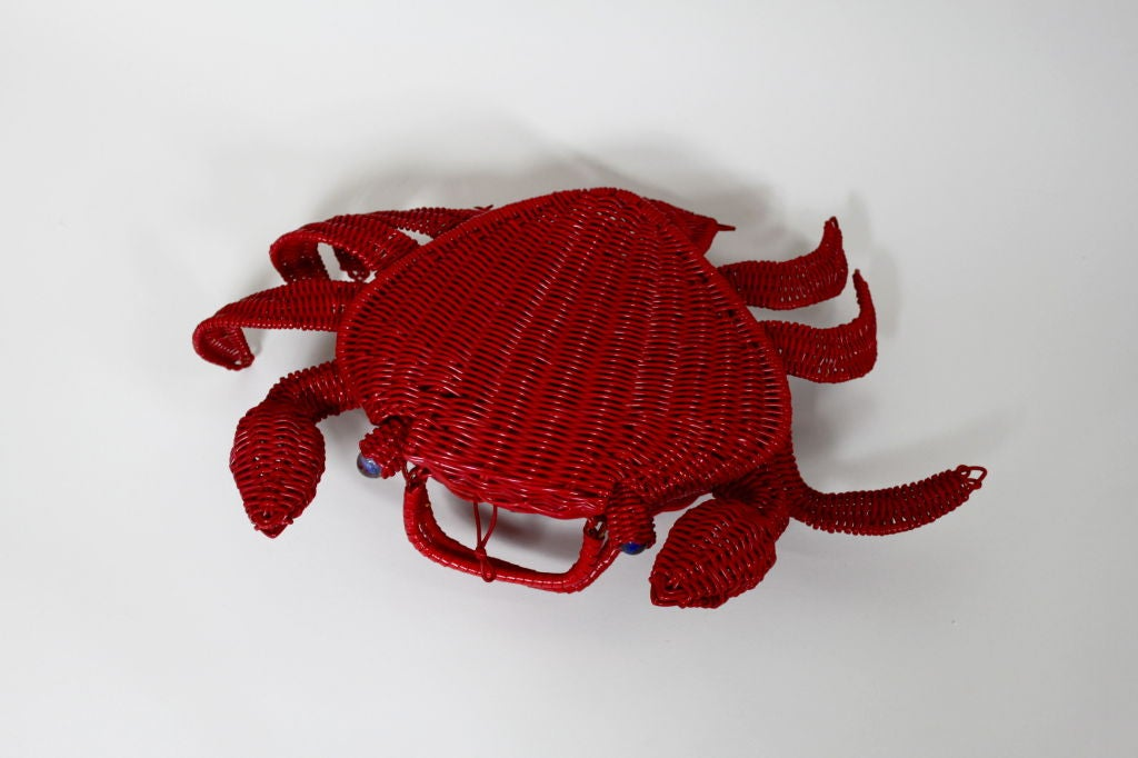 1950s Whimsical Straw Crab Purse 3