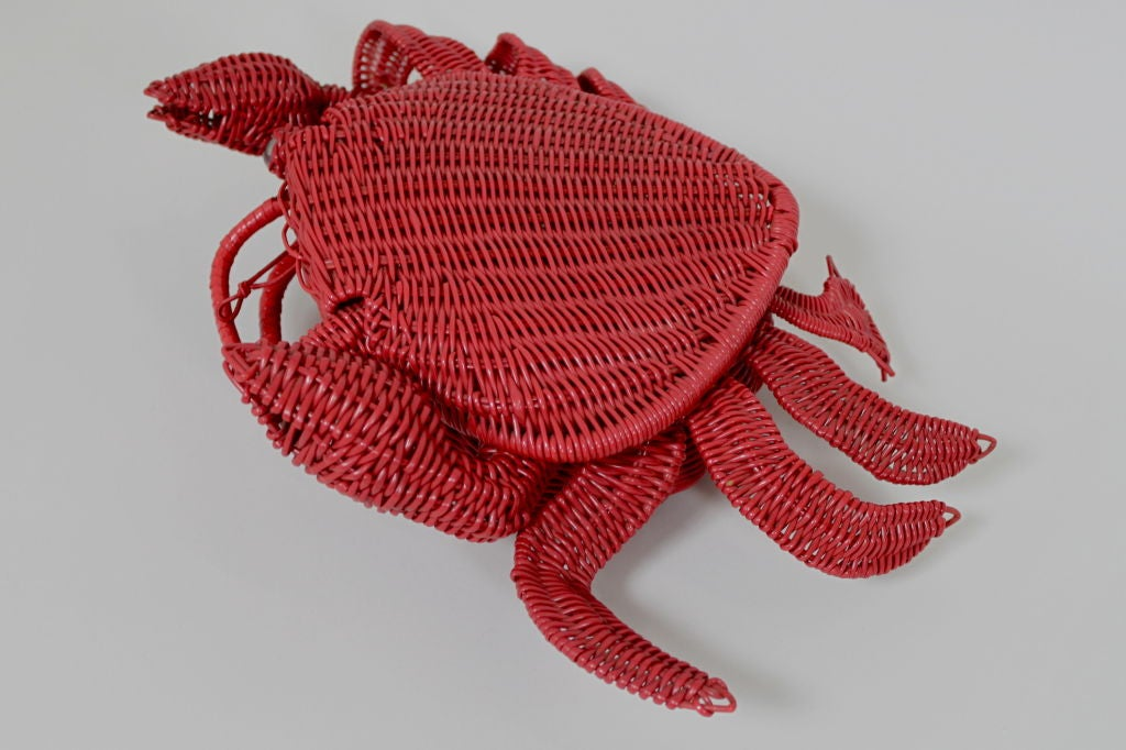 1950s Whimsical Straw Crab Purse 4