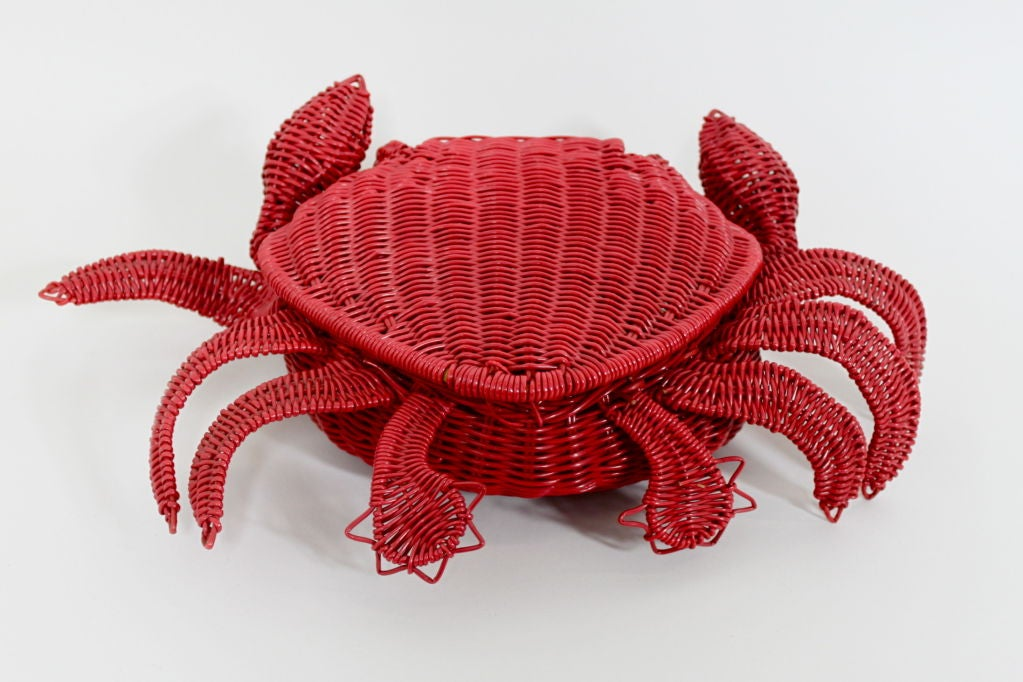 1950s Whimsical Straw Crab Purse 7