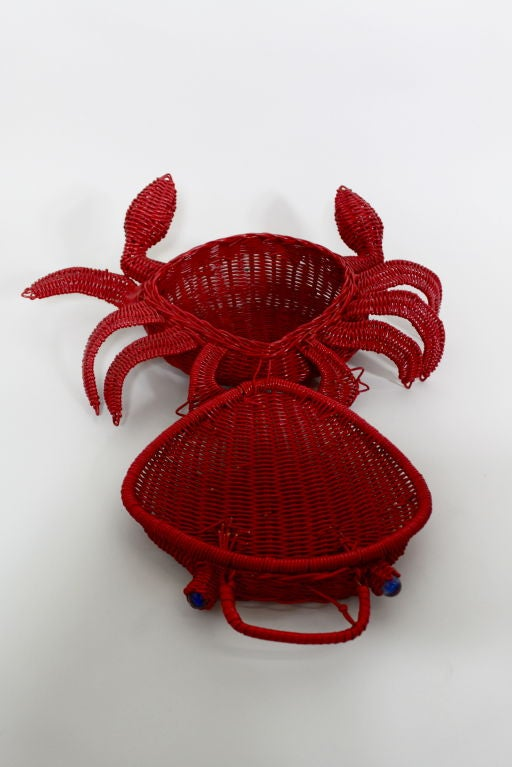 1950s Whimsical Straw Crab Purse 8