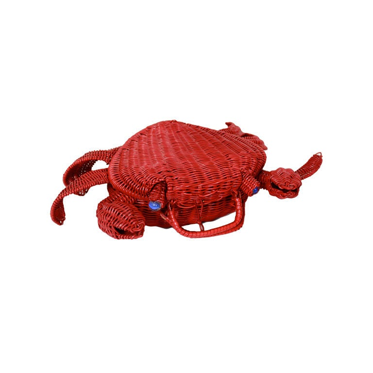 1950s Whimsical Straw Crab Purse 1