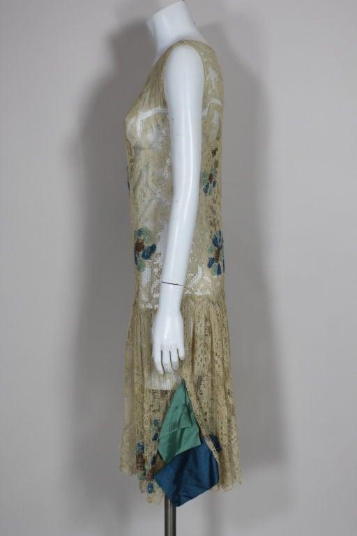 1920 S Ecru Beaded Fillet Lace Dress For Sale At 1stdibs