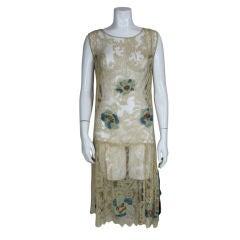 1920's Ecru Beaded Fillet Lace Dress
