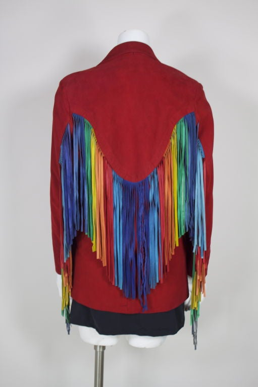 Beverly Feldman Red Suede Jacket With Rainbow Fringe At