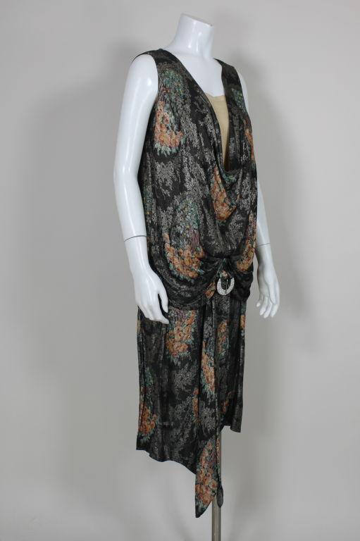 1920s Silver Lamé Floral Cocktail Dress 2