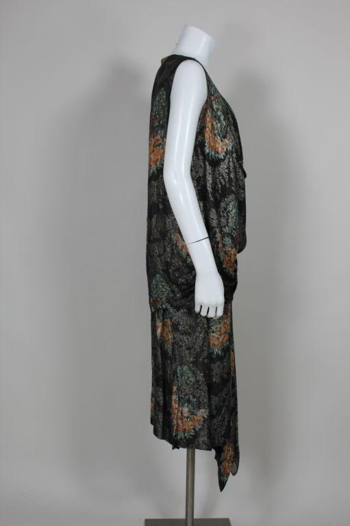 1920s Silver Lamé Floral Cocktail Dress 3
