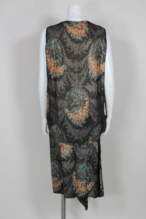 1920s Silver Lamé Floral Cocktail Dress 4
