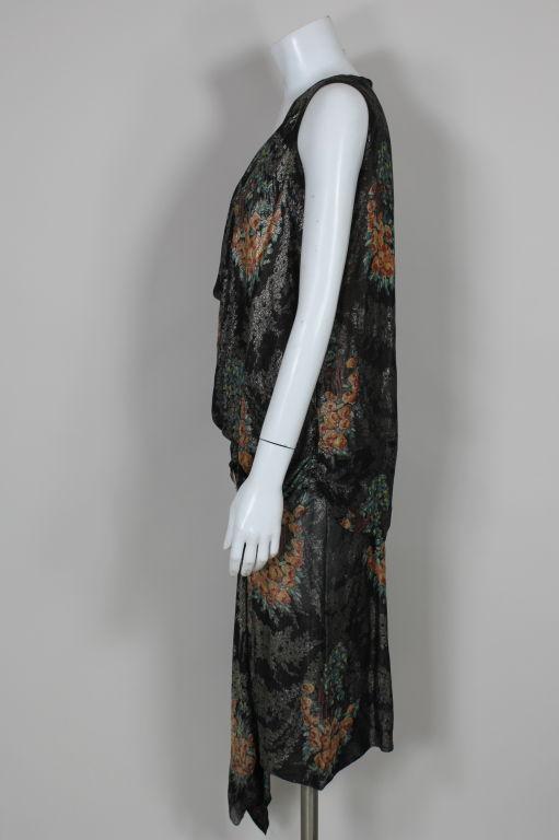 1920s Silver Lamé Floral Cocktail Dress 5