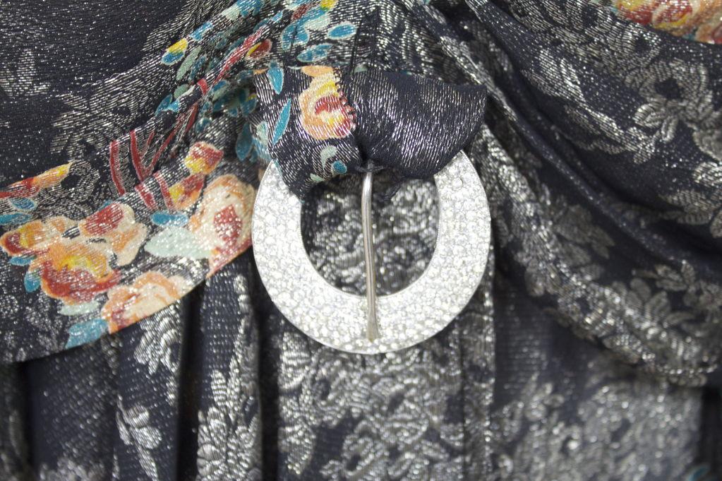 1920s Silver Lamé Floral Cocktail Dress 6