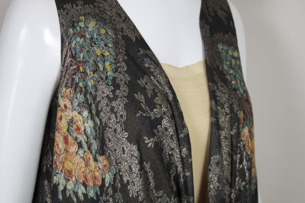 1920s Silver Lamé Floral Cocktail Dress 8