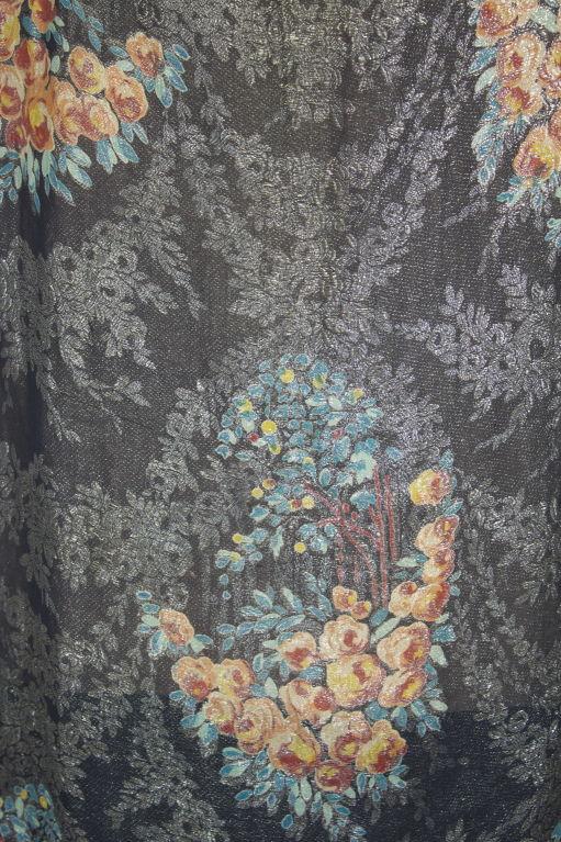 1920s Silver Lamé Floral Cocktail Dress 9