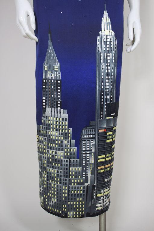 Moschino couture silk skyline skirt at stdibs