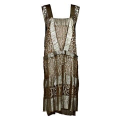 1920s Metallic Gold Lamé Lace Party Dress