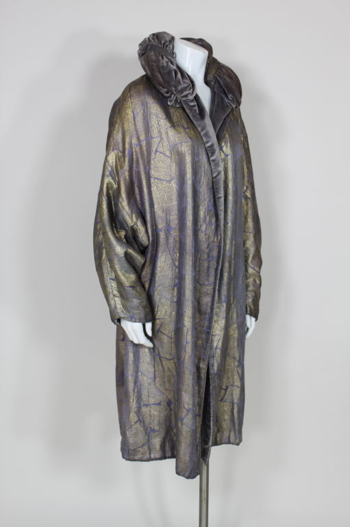 1920s Lavender and Gold Lamé Opera Coat 2