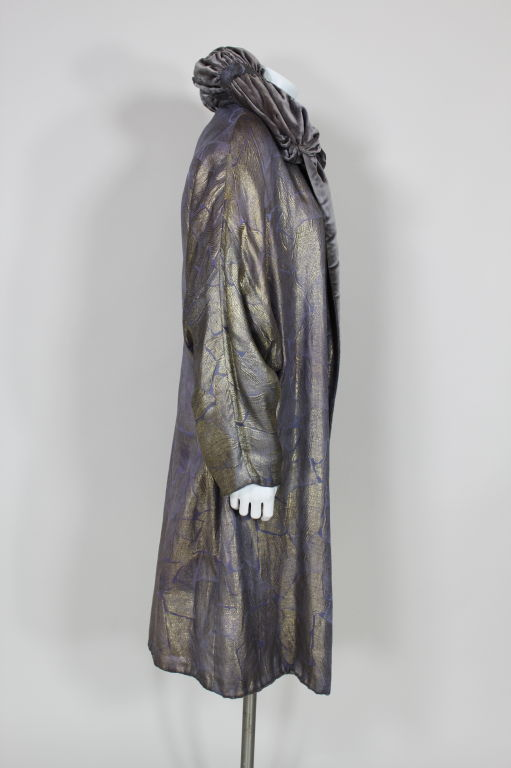 1920s Lavender and Gold Lamé Opera Coat 3