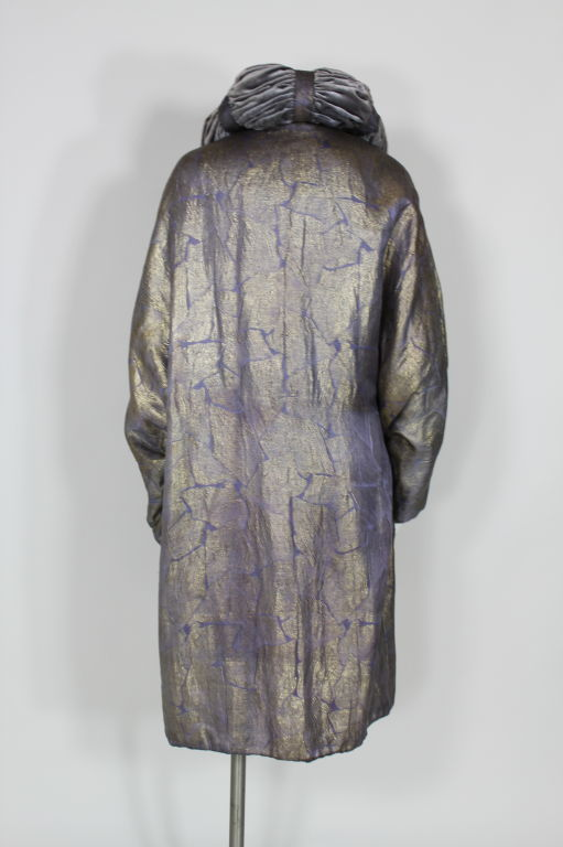1920s Lavender and Gold Lamé Opera Coat 4