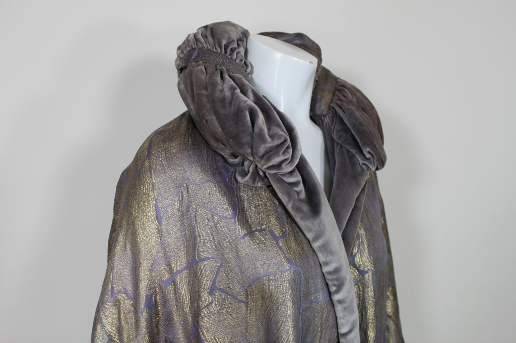 1920s Lavender and Gold Lamé Opera Coat 6