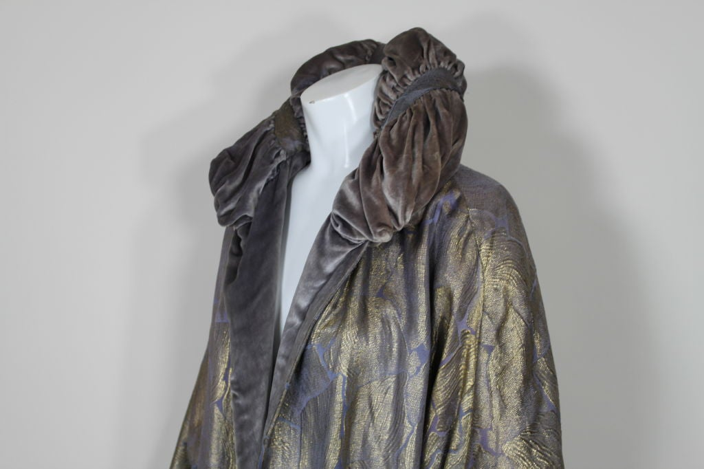 1920s Lavender and Gold Lamé Opera Coat 9