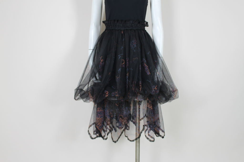 Zandra Rhodes 1980s Black Silk-Screened Confetti Tulle Skirt 2