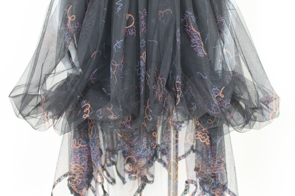 Zandra Rhodes 1980s Black Silk-Screened Confetti Tulle Skirt 3