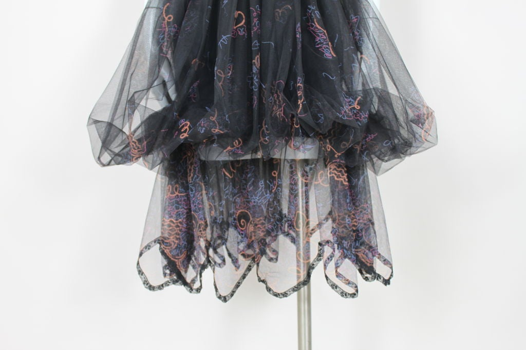Zandra Rhodes 1980s Black Silk-Screened Confetti Tulle Skirt 4