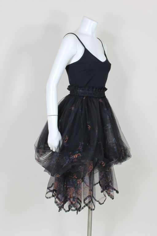 Zandra Rhodes 1980s Black Silk-Screened Confetti Tulle Skirt 5