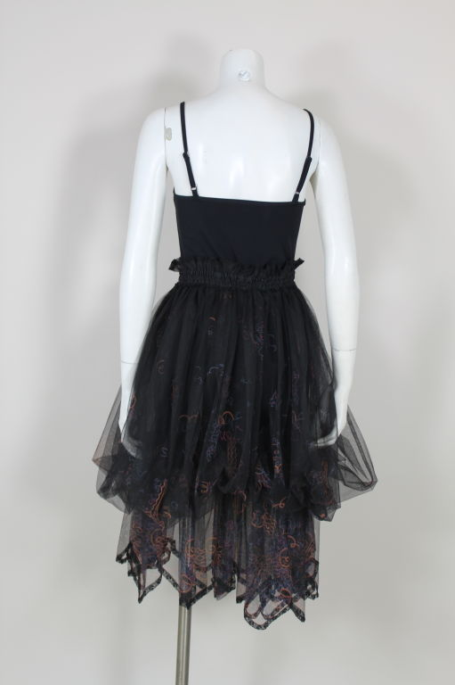 Zandra Rhodes 1980s Black Silk-Screened Confetti Tulle Skirt 6