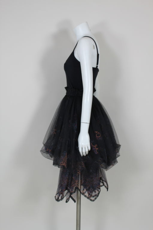 Zandra Rhodes 1980s Black Silk-Screened Confetti Tulle Skirt 7